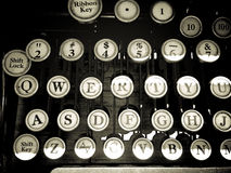 葡萄酒打字机钥匙 库存照片