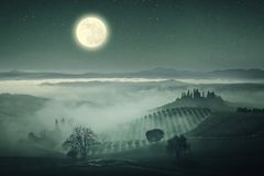 葡萄酒托斯卡纳谷和星 库存照片