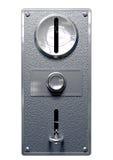 葡萄酒投币口与按钮前面的机器盘区 免版税库存图片