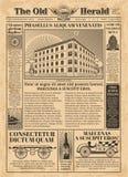 葡萄酒报纸与新闻用纸文本的传染媒介模板 皇族释放例证