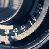 葡萄酒摄象机镜头的特写镜头细节 免版税库存照片