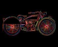 葡萄酒摩托车剪影 库存照片