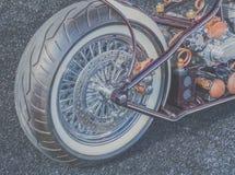 葡萄酒摩托车后面特写镜头  库存图片