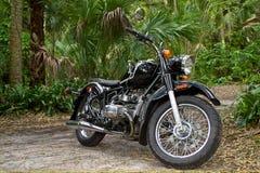 葡萄酒摩托车在密林 库存图片