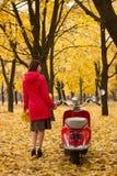 葡萄酒摩托车在秋天森林里 库存图片