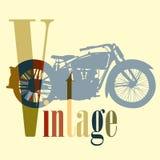 葡萄酒摩托车摩托车五颜六色的艺术传染媒介 免版税库存照片