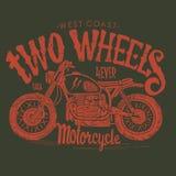 葡萄酒摩托车手拉的传染媒介T恤杉 库存图片
