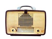 葡萄酒收音机被隔绝在白色裁减路线 免版税库存照片