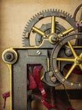葡萄酒教会时钟的详细资料 免版税库存图片