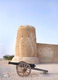 葡萄酒教规& Zubarah堡垒,卡塔尔南部的塔  库存照片