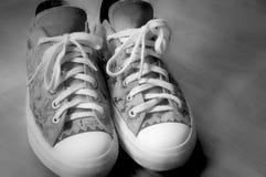 葡萄酒斜纹布运动鞋鞋子 免版税库存照片
