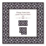 葡萄酒方形的3D框架黑色白色庭院藤十字架花 免版税库存图片