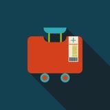 葡萄酒旅行手提箱,与长的阴影的平的象 免版税库存照片