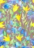 葡萄酒无缝的墙纸,花卉艺术-幻想草甸开花 水彩 图库摄影