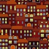 葡萄酒无缝的都市风景背景样式 免版税库存图片