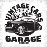 葡萄酒旧车改装的高速马力汽车象征设计 免版税图库摄影