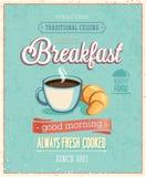 葡萄酒早餐海报。 免版税库存照片