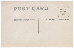 葡萄酒明信片后面艺术品20世纪20世纪10年代 免版税库存图片