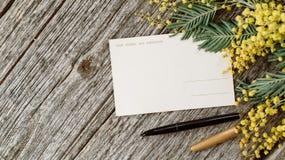 葡萄酒明信片嘲笑与黄色花含羞草和葡萄酒笔墨水在灰色木背景 库存图片