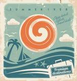 葡萄酒暑假海报 库存照片
