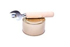 葡萄酒有木把柄的开罐头用具在与空间的白色背景文本的 免版税库存照片
