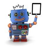 葡萄酒有片剂个人计算机的玩具机器人 库存照片
