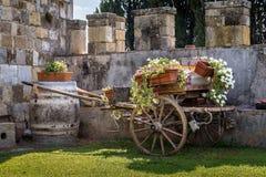 葡萄酒有花的庭院推车 免版税库存照片