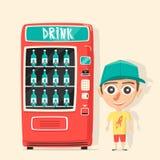 葡萄酒有饮料的自动售货机 减速火箭的动画片样式 向量例证