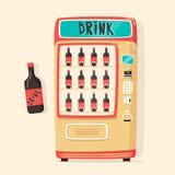 葡萄酒有饮料的自动售货机 减速火箭的样式 水采购 向量例证