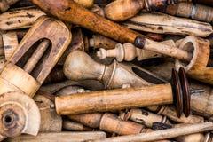 葡萄酒木工具 免版税图库摄影