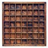 葡萄酒木排字机或玻璃盖匣 免版税库存照片