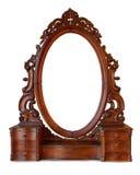 葡萄酒木框架镜子 库存照片