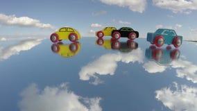 葡萄酒木汽车在镜子戏弄,并且云彩行动,时间间隔 股票视频