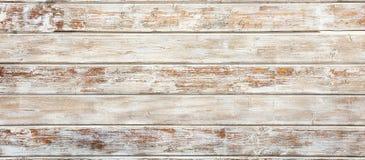 葡萄酒木白色被绘的背景,老被风化的木板条部分地退了色,横幅 库存图片