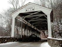 葡萄酒木被遮盖的桥 库存照片