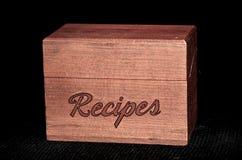 葡萄酒木食谱箱子 库存照片