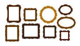 葡萄酒木画框的汇集 镜子、画象象或者标志 也corel凹道例证向量 皇族释放例证