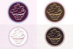 葡萄酒杯形蛋糕商标 库存图片
