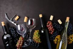 葡萄酒杯用红色和白葡萄酒、瓶、说谎在黑暗的木背景的葡萄、拔塞螺旋和黄柏 顶视图 平的位置 警察 免版税库存图片