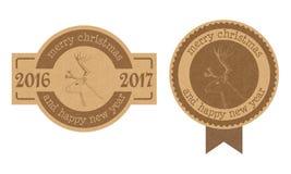 葡萄酒构造了纸板圣诞节和新年标签或者徽章 免版税库存照片
