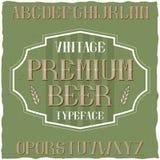 葡萄酒标签字体说出名字的Premium Beer 免版税库存图片