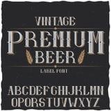 葡萄酒标签字体说出名字的Premium Beer 免版税图库摄影