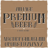 葡萄酒标签字体说出名字的Premium Beer 库存图片