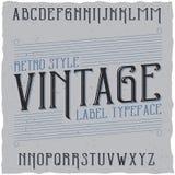 葡萄酒标签字体说出名字的Vintage 库存照片