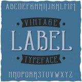 葡萄酒标签字体说出名字的Vintage 库存图片