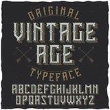 葡萄酒标签字体说出名字的Vintage Age 库存图片