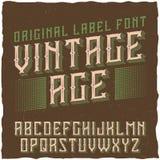 葡萄酒标签字体说出名字的Vintage Age 免版税库存照片