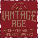 葡萄酒标签字体说出名字的Vintage Age 图库摄影