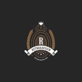 葡萄酒标签徽章商标元素构筑减速火箭的豪华 向量例证