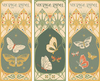 葡萄酒标签:蝴蝶-艺术nouveau框架 免版税库存照片